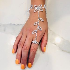Crystal Finger Ring Bracelet Hand Harness Chain